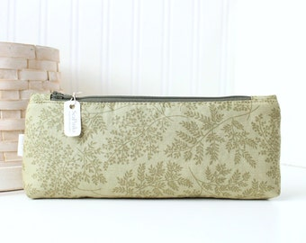 Green Foliage Cute Pencil Case Long Green Zipper Pouch Woodland Fern