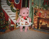 8LC1-90) 8 inch Lil Cutesies Berenguer baby doll clothes, 1 Christmas dress with panties