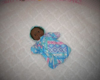 5-LITTLEHEAD-HS-33) 5 inch Lil Cutesies Little Head Berenguer baby doll clothes, 1 flannel hooded sleeper with panties
