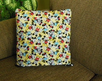 READY to Ship - Mickey and Minnie Mouse Together QUILLOW - yellow red blue black polka dot - personal quilt that folds into pillow  LAST one