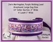 Jan's Martingales, Purple Walking Lead, Collar and Lead Combination, Greyhound, Large Dog Size, Pur162