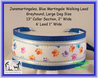 Janmartingales, Blue Walking Lead, Dog Collar and Leash Combination, Greyhound, Large Dog Size, Blu130