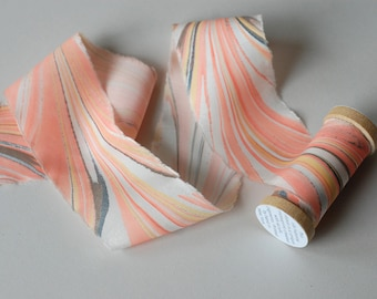 Marbled Silk Ribbon in Bright Peach
