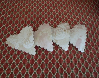 20 upcycled vintage wallpaper scalloped hearts - romantic cream and pink