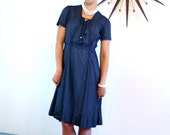 SALE 50% OFF Vintage 1940s Sheer Cotton Day Dress Navy Blue Polka Dot Print Pintuck Short Sleeve Shirtdress Handmade Light Airy 40s Retro Ho