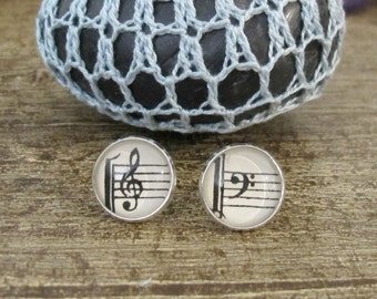 Music Clef Earrings Ear Studs Post Vintage Bass Treble Musician Upcycled Sheet Composer Two Cheeky Monkeys Silver Round Stud Typography