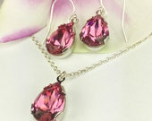 Pink Bridesmaid Jewelry Pink Bridesmaid Gift Pear Shaped Rhinestone Necklace Rose Crystal Necklace Earring Valentine's Gift For Her Celina