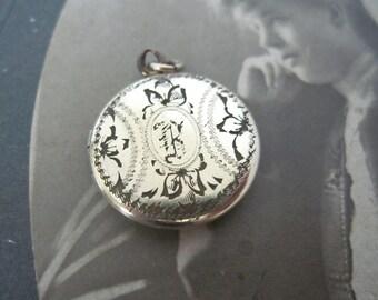 Antique B Monogram Locket, 12K Gold Filled Locket Signed WH, Sweetheart Locket