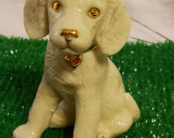 Lenox Beagle Dog Figurine The Puppies of Lenox Collection 24K gold porcelain