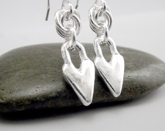 Small Heart Earrings, Heart Shaped Earrings, Jewelry Gift for Her, Love Heart Earrings, Heart Dangle Earrings, Small Silver Earring