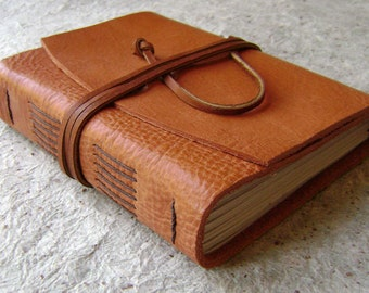 "Leather journal, 4""x 6""rustic orange, 264 pages,handmade journal by Dancing Grey Studio(1108)"