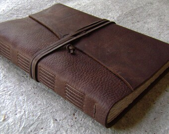 """Old world leather Journal, 6""""x 9"""", rustic dark brown journal, handmade leather journal, (2142)"""