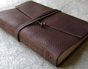 """Old world leather Journal, 6""""x 9"""", rustic dark brown journal, handmade leather journal, (2147)"""