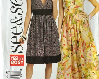 Butterick B5307 Sewing Pattern, See & Sew, Ladies Dresses, 16-18-20-22