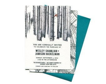 Black and White Pine Needles Mid-Century Modern Wedding Invitation Suite | Pine Forest with Cardinals Wedding Invitation + Save The Date