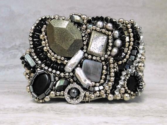 Unique Belt Buckle with Asymmetrical  Semi Precious Stones in Black & Silver - Avant Garde Fashion Hand Wired by Sharona Nissan