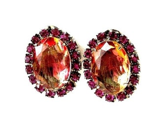 Weiss Padparadschah Pink-Orange Glass Earrings