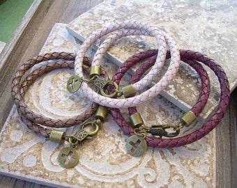 Mens  Double Wrap Leather Bracelet with Cross Pendant, Bronze, Mens Bracelet,Mens Jewelry, Mens Gift, Leather Jewelry, Cross, Religious