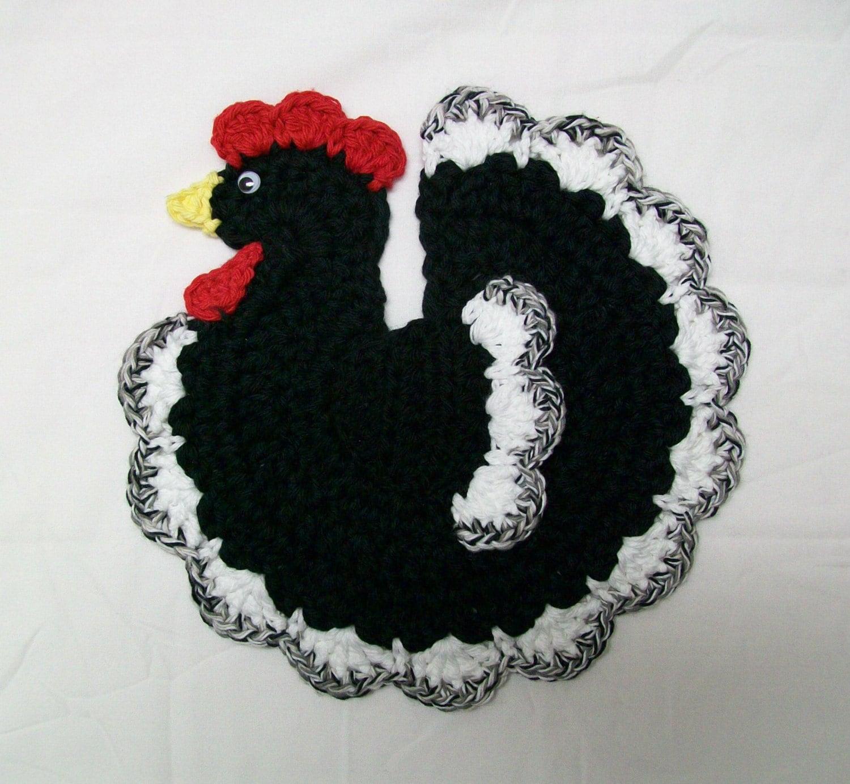 Easter Pot Holders Crochet: Chicken Rooster Pot Holder Potholder Black White Bird Hot Pad