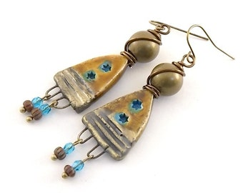 Cognac and Navajo Turquoise Earrings - Brass Earrings - Artisan Earrings - Boho Earrings - Ceramic Earrings - Antique Brass - AE107