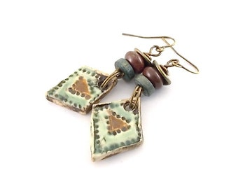 Green and Brown Ceramic Earrings - Ceramic Earrings - Artisan Earrings - Boho Earrings - Antique Brass Earrings - Brass Earrings - AE122