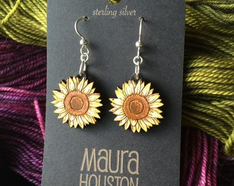 Hand Painted Sunflower Earrings