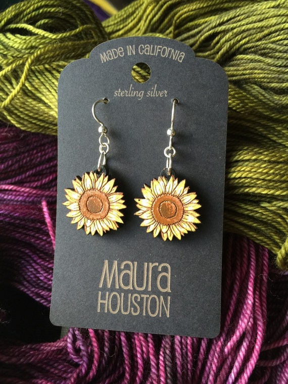 Hand Painted Sunflower Earrings
