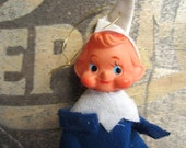 Vintage Elf Christmas Blue and White Pixie Tree Ornament Japan
