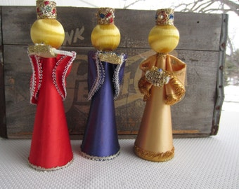 Vintage Mid Century Christmas Decor Satin Wisemen set of 3 Glitter Jewel Adorned