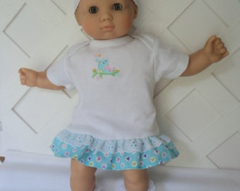 Bitty Baby Girl cute 3 pc. Truq. and white  ruffled  dress with  Socks and a headband     doll clothes