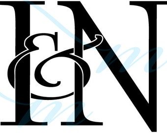 SALE - Intertwining Ampersand Monogram - I&N (instant download - jpg, psd, pdf)