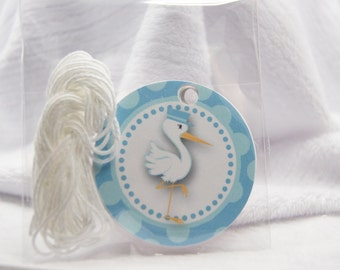 Stork Tags Blue with Polka Dots Favor Tags