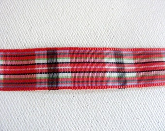 Vintage 1950's French Satin Novelty Ribbon 5/8 Inch Gorgeous Plaid