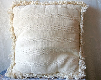 Vintage 1960s Boho Woven Pillow With Fringe 1970s Neutral Cream SALE