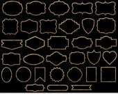 Gold Frames Clipart Gold Borders Clipart Gold Foil Frames Clip Art Invitations Scrapbooking Gold Borders Clipart Gold Shapes Clipart