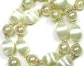 Vintage 1940s Pale Yellow Chiffon Mad Men Style Beaded Choker Necklace, Antique Jewelry, Ecru, Wedding Jewelry, Beaded Necklace