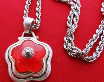 "20% off sale Vintage 26"" silver tone necklace with 1.5"" red modernist flower pendant in great condition"