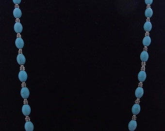 """20% off sale Vintage 37"""" necklace w faux turquoise beads in great condition, no clasp"""