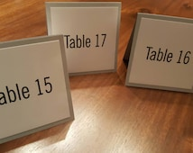 Tented Table Number Sign 5x5 Folded Silver and White, modern