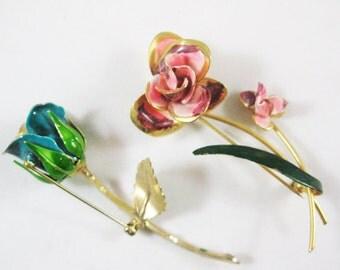 Long Stemmed Enamel Flower Pin Duo