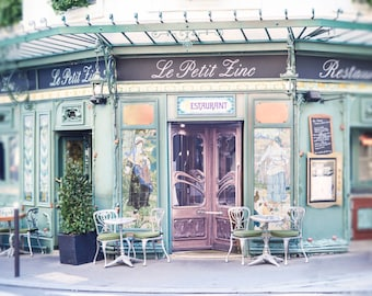 Paris Photography - Le Petit Zinc, Paris Home Decor, Paris Wall Art, Travel Fine Art Photograph, Kitchen Art, Large Wall Art