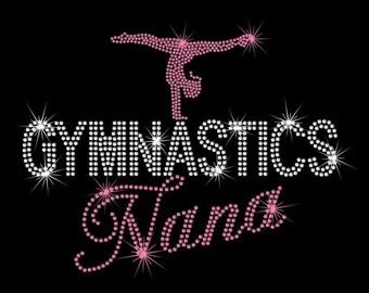 "10"" Gymnastics Nana iron on rhinestone transfer applique patch your color choice"