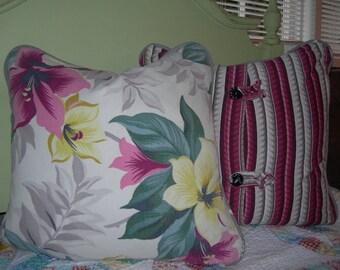 "Vintage Floral Barkcloth 18"" Pillow"