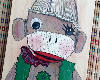 Sock Monkey Portrait--Original Painting