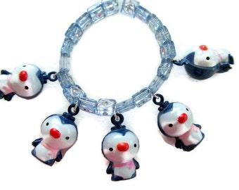 Toddler penguin bracelet stretch bracelet bells blue with heart beads charm bracelet little girls jewelry animal bracelet penguin bells
