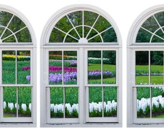 Faux window frame, photo wall decals Dutch Garden-2, Holland- window view-large 3 piece set-24x36 each panel