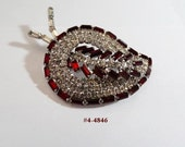 FREE SHIP Siam Red Leaf Brooch With Clear Rhinestones (4-4846)