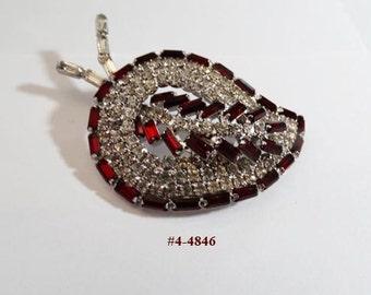 FREE SHIP Siam Red Leaf Brooch With Clear Rhinestones (4-4846)