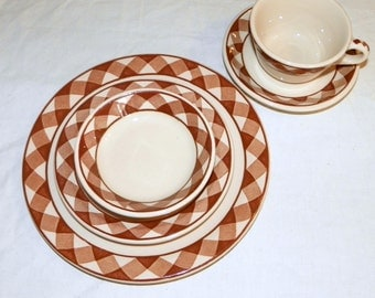 Jackson China, Vitrified Brown Plaid, 2 Complete Place Settings, 10-Pcs, Restaurant Ware, Heavy Duty China, Dinor, Cafe Dinner, Lunch Plates
