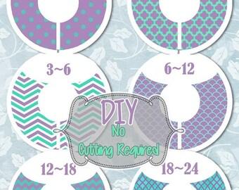 DIY HUGE SALE 6 Custom  Baby Closet Dividers Purple Aqua Baby Shower Gift Closet Organizers Baby Girl Nursery Decor